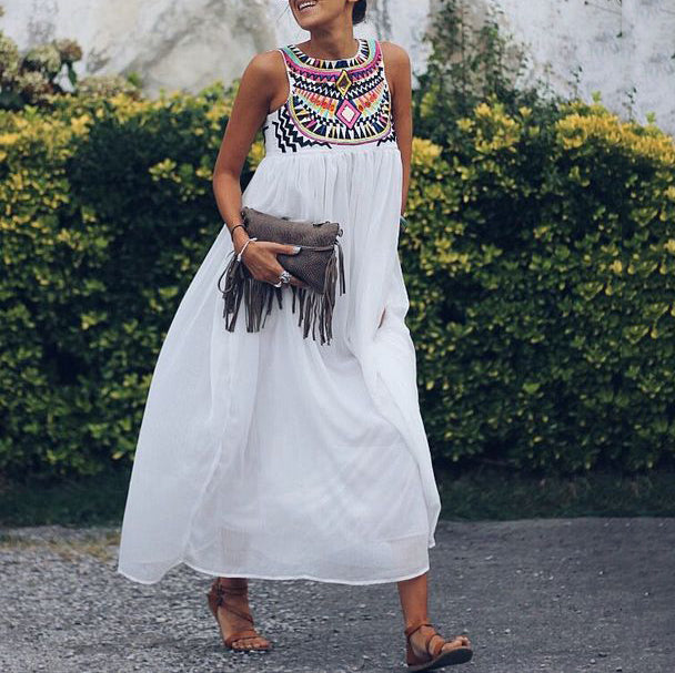 Bohemian Maxi Dress Embroidery Sleeveless Casual Dresses