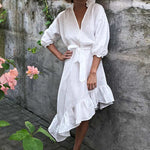 Summer sleeve ruffle beach sash button deep v neck sexy dress