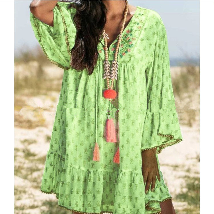 Women's Long Sleeve Print Dress Flare Sleeve Floral Print Loose Dress Plus Size Beach Dresses
