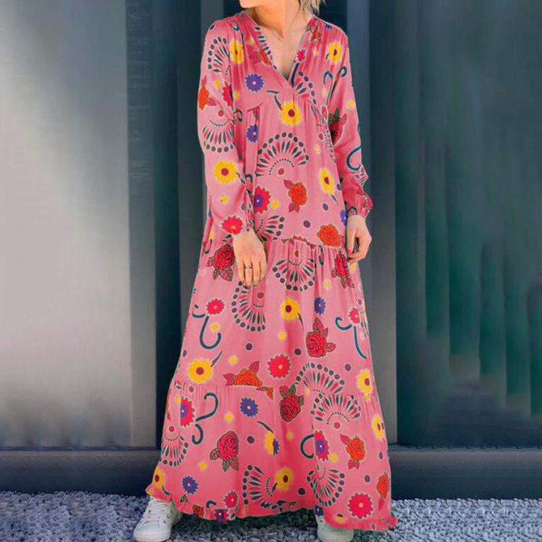 Bohemian Long Sleeve V-Neck Floral Print Maxi Dress