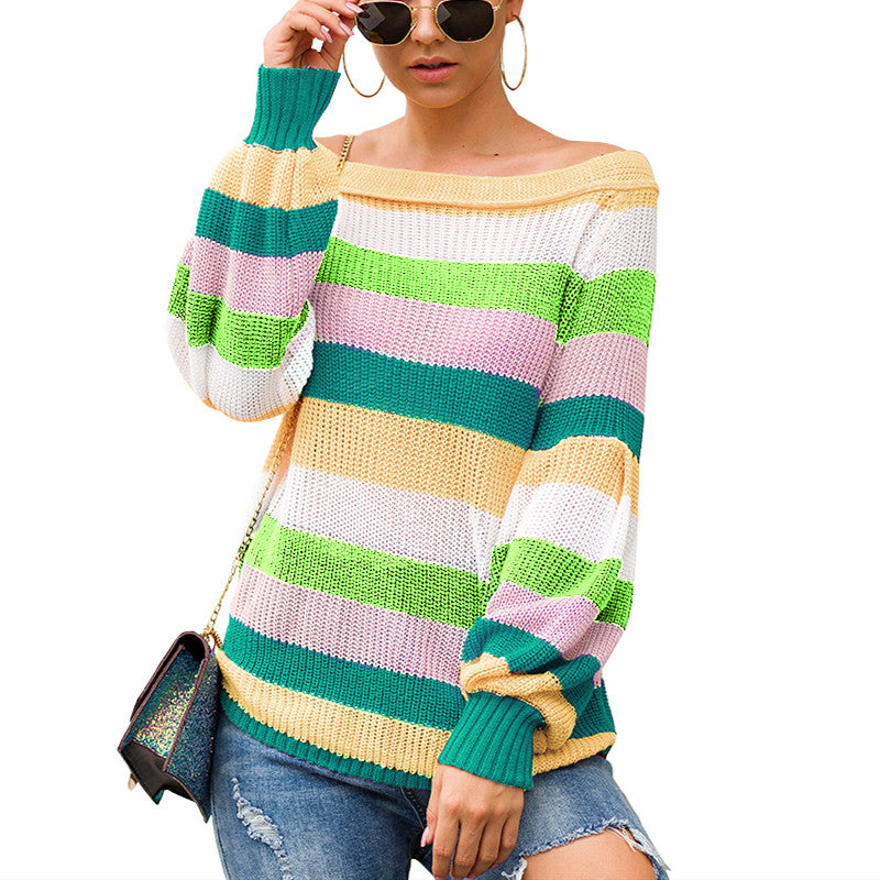 women pullovers knitwear sweater women Off The Shoulder Sweater Casual V-Neck Knitted Loose Long Sleeve Pullover