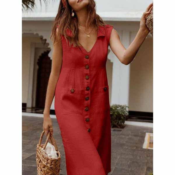 Summer Vacation V-Neck Button Casual Dress