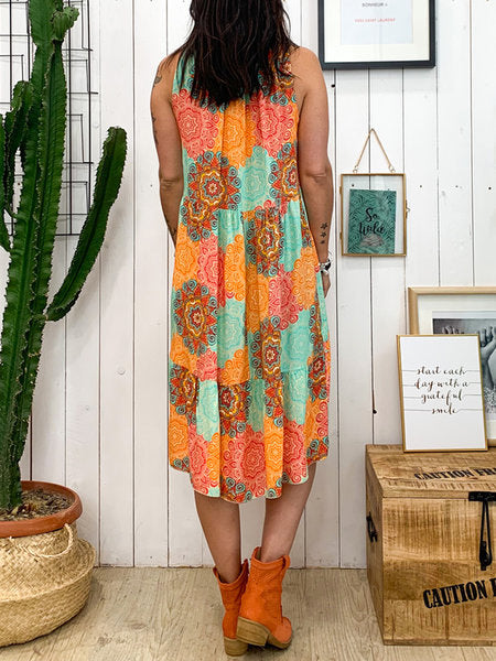 Summer Print Sleeveless Plus Size Casual Dresses