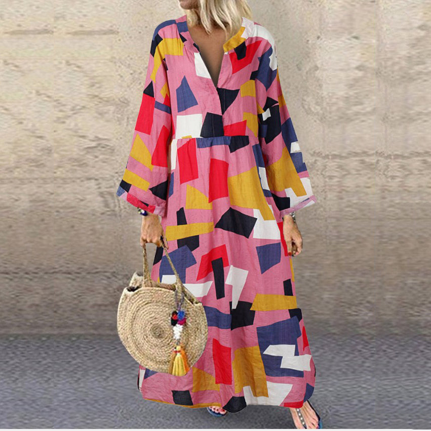 Casual Long Sleeve Print V-Neck Line Maxi Dress