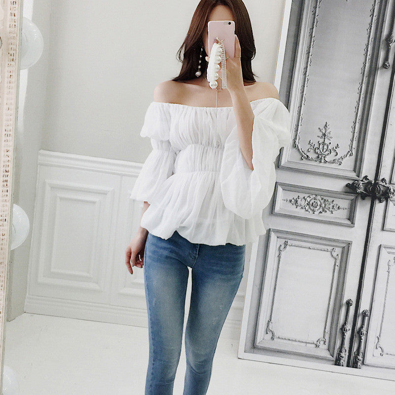 Sexy Off Shoulder Slash Neck Blouse Casual White Embroidery Beach Shirt