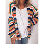 2019 fall colorful rainbow striped cardigan women long sleeve warm knitted cardigan loose vintage cardigan