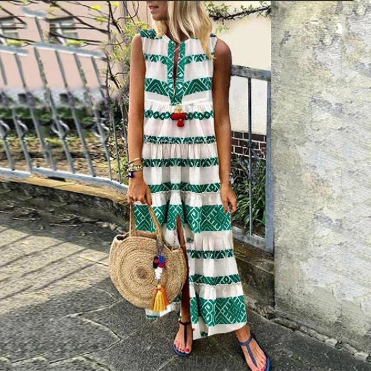 Print Line Sleeveless Maxi Dresses