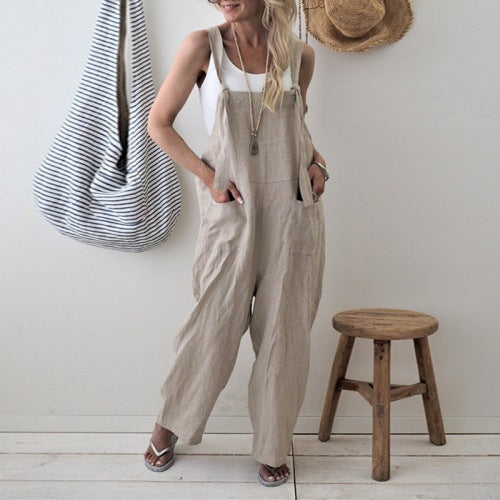 New In Casual Cotton Line Straps Jumpsuits