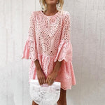 Summer Dress Women Lace Embroidery Sexy Dress Ruffle Sleeve Causal  Mini Dresses