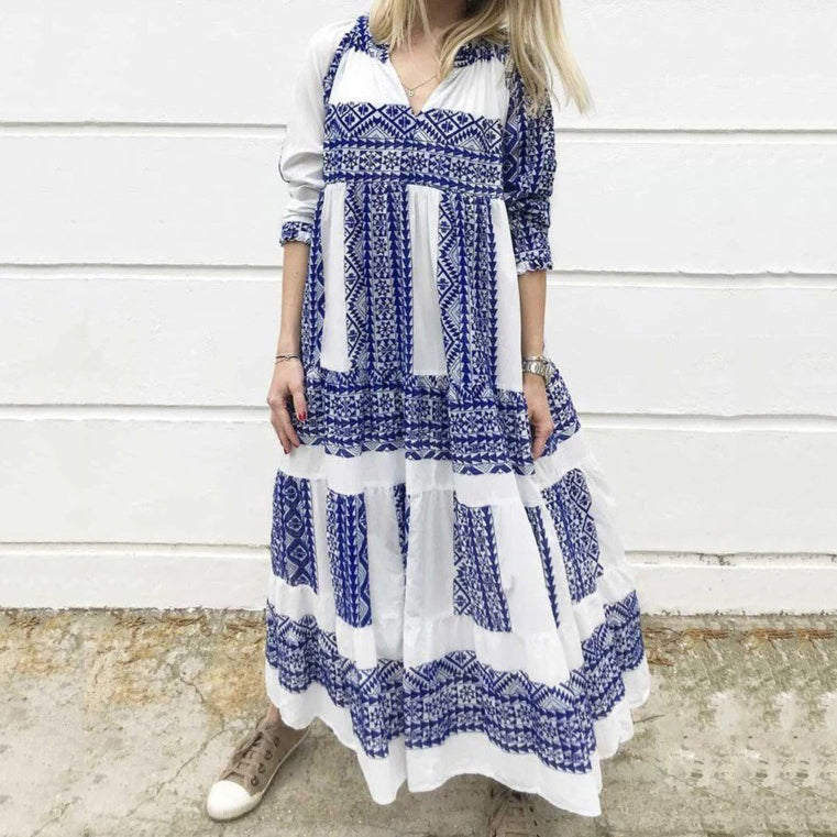 Print Long Sleeve Plus Size Maxi Dresses