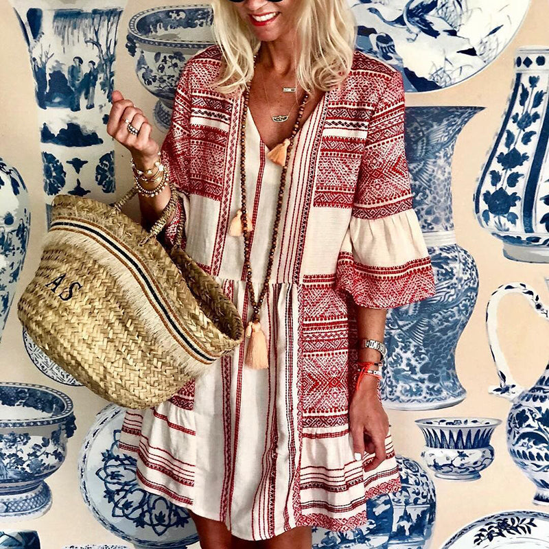 Vacation Casual Print Flare Sleeve Mini Dress