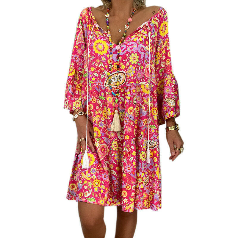 Women V Neck Loose Print Floral Dress Mini Love And Peace Dress Anti War Dress