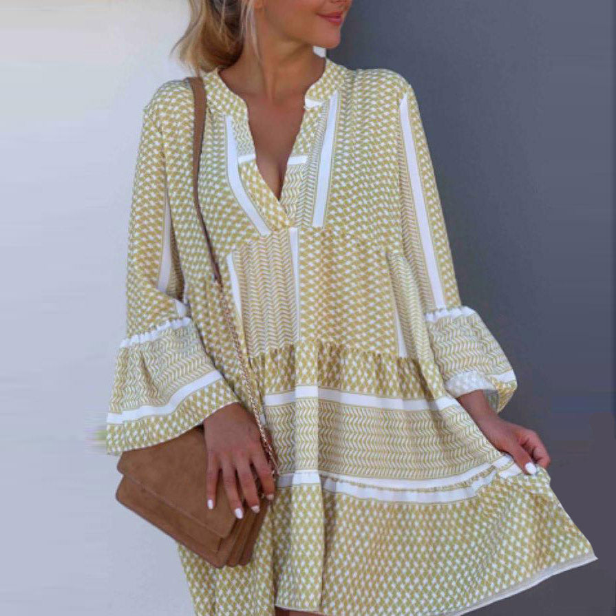 Autumn Plus Size Boho Women Mini Dress Print Beach Long Sleeve Dress V Neck Loose Dress