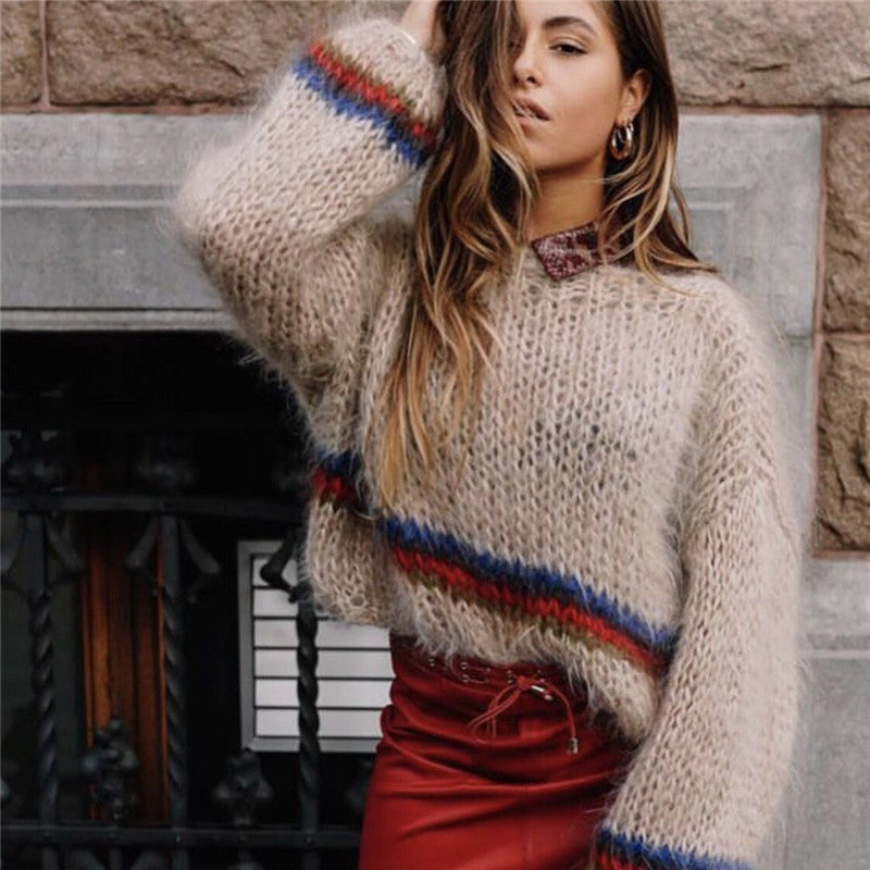 Women's Sweaters Ladies Fashion Autumn Winter Casual Knitwear Loose Long Sleeve Stripe O-neck Knitted Sweater Tops