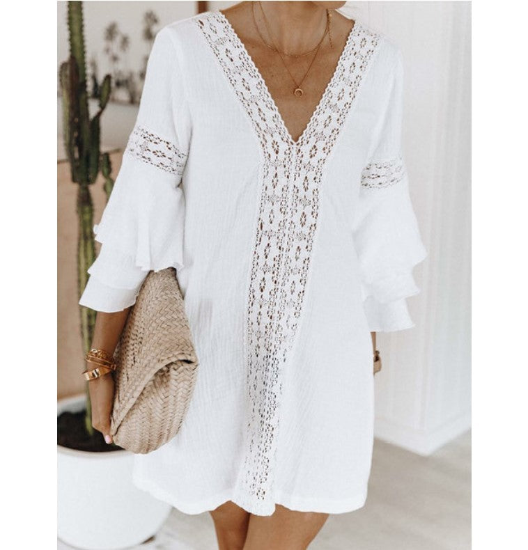 Vacation Hollow Out Flare Sleeve V-Neck Mini Dress