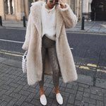 Autumn Winter Coat Women Casual Loose Solid Long Teddy Coat Female Vintage Plus Size Thick White Faux Fur Jackets Coats