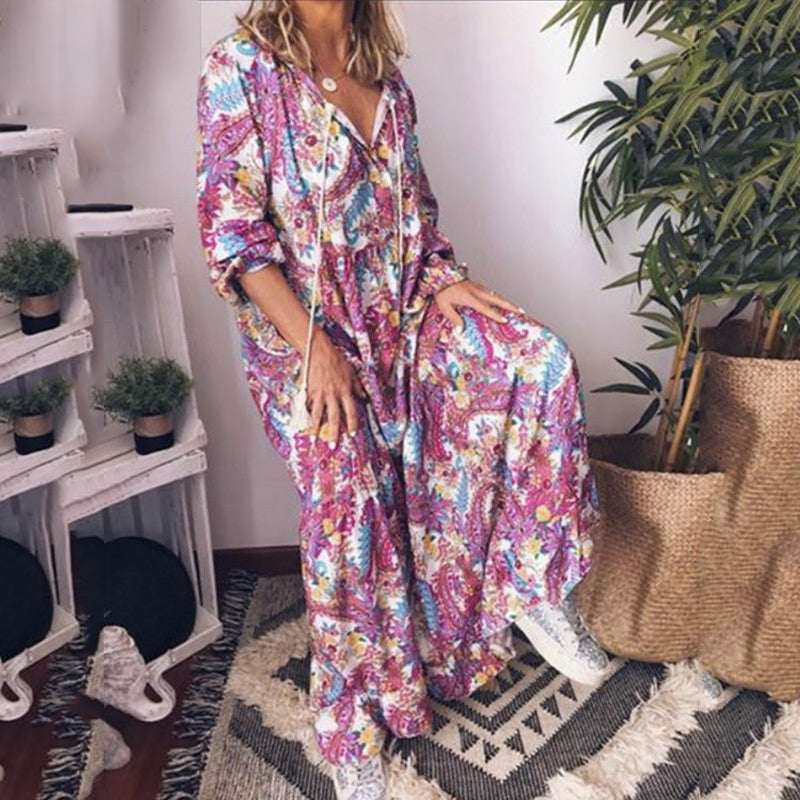Bohemian Plus Size Long Sleeve Print Maxi Dress