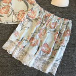 Summer Sexy Floral Print Two-piece Pajamas
