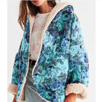 Winter New Women's Thick Plus Velvet Coat Plus Size Floral Print Hooded Jacket Coat Plus Size Loose Outwear