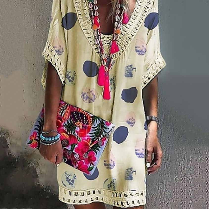 Summer Bohemian Casual Print Mini Dress