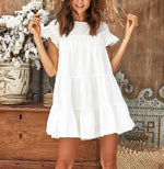 Summer Short Sleeve Ruffles Mini Dresses