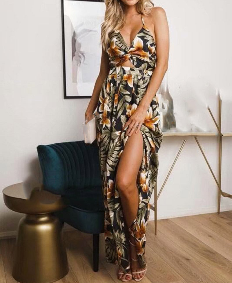 Printed Lace up Party Backless Split Spaghetti Strap Maxi Dress