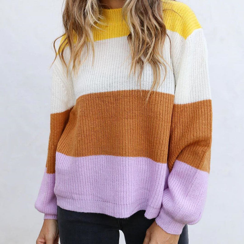 Fall Stripe Turtleneck Sweaters Women Winter 2019 Loose Knitted Sweaters Lantern Sleeve Oversized Pullover Jumpers