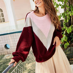 Women Autumn Casual Pullovers Patchwork Long Sleeve Loose Sweater Burgundy O-Neck Knitted Sweater Pullovers