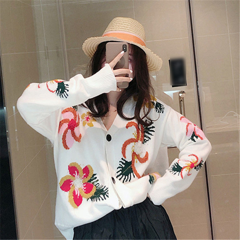 Fall Women Stereo Floral Embroidery Thin Knitting Cardigans