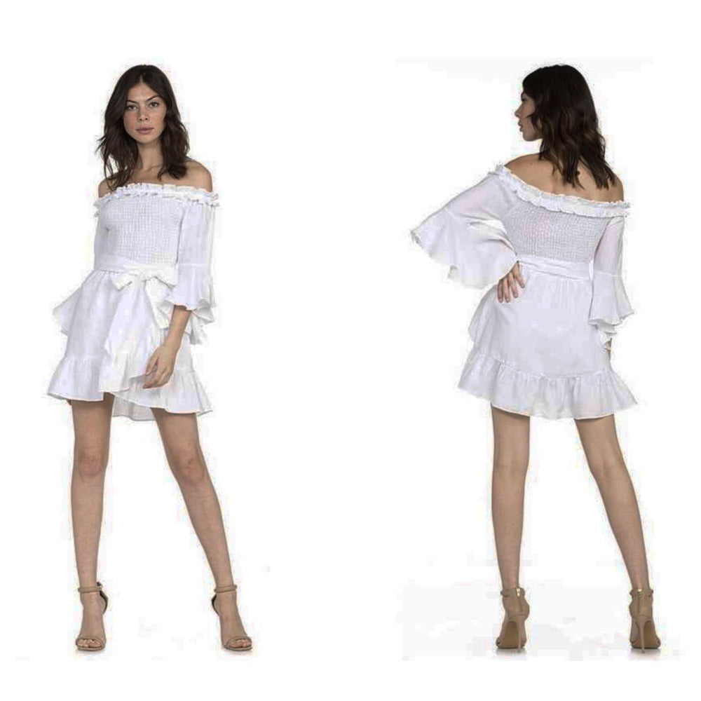 Off Shoulder Ruffles White Vacation Dress