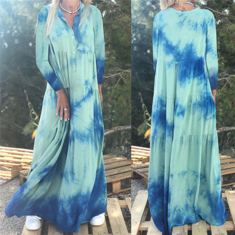 Sexy O Neck Striped Print Floor-Length Dress Women Autumn Long Sleeve Boho Party Dress Ladies Maxi Dresses