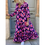 2019 fall long sleeve boho dress women printed loose dress casual beach maxi dress