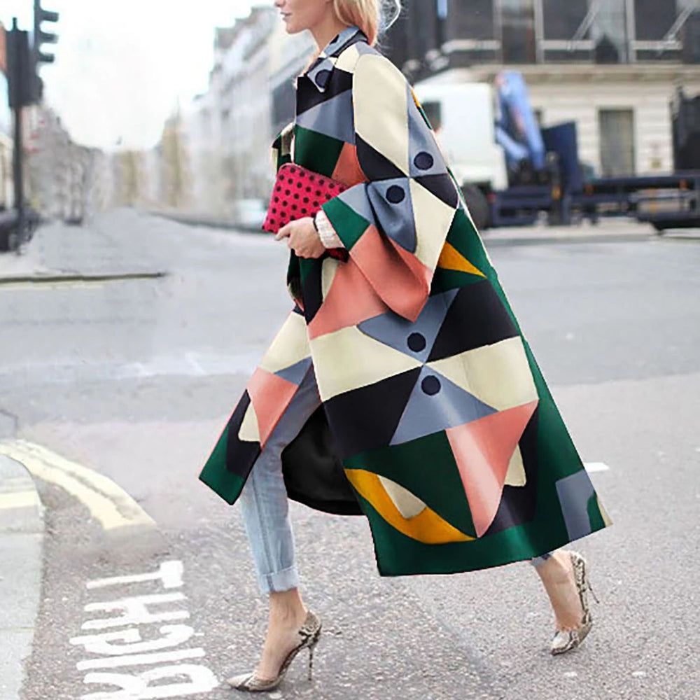 2019 Plus Size Designer Color Block Print Long Trench Coat For Women Casual Trench Full Sleeve British Style Autumn Overcoat