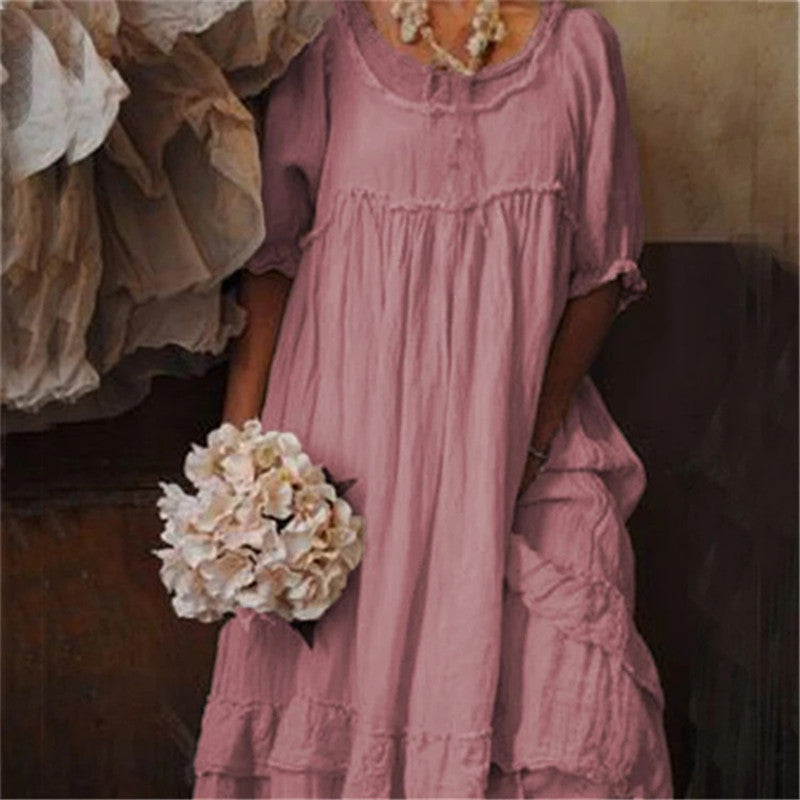 Women Summer Solid Round Neck Long Dress Vintage Patchwork Ruffles Pleated Dress