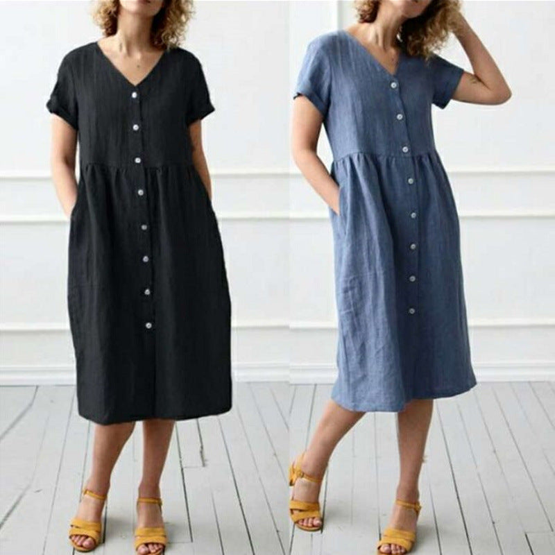 Short Sleeve Shirt Vintage V Neck Button Down Linen Dress