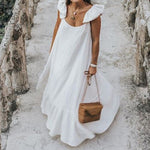 Summer Sexy Short Sleeve Ruffled Maxi Dress