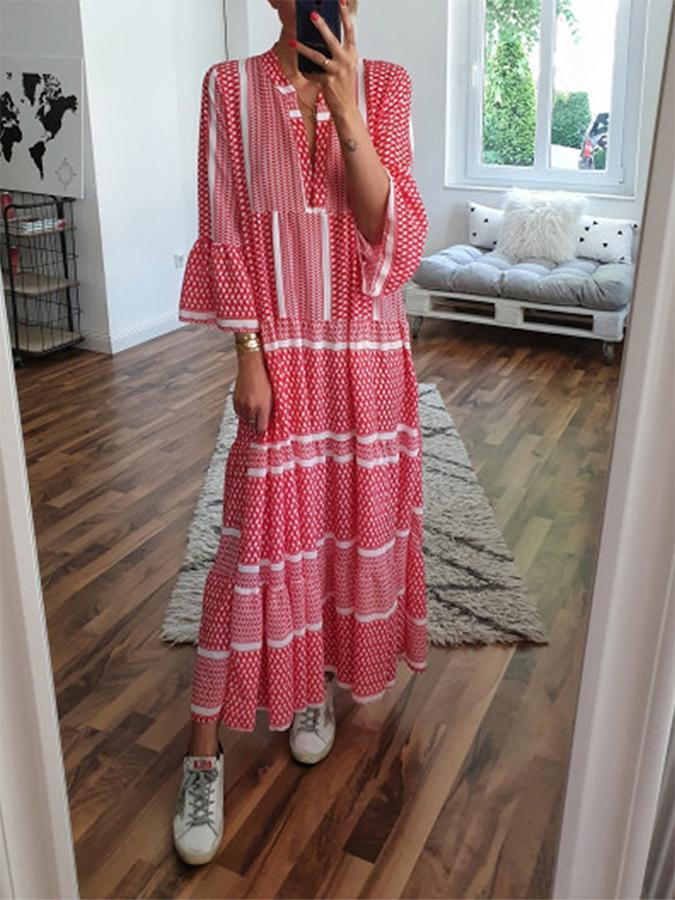 Casual V-neck Plus Size Print Maxi Dresses