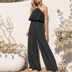Summer wide leg pant jumpsuits halter beach boho jumpsuits