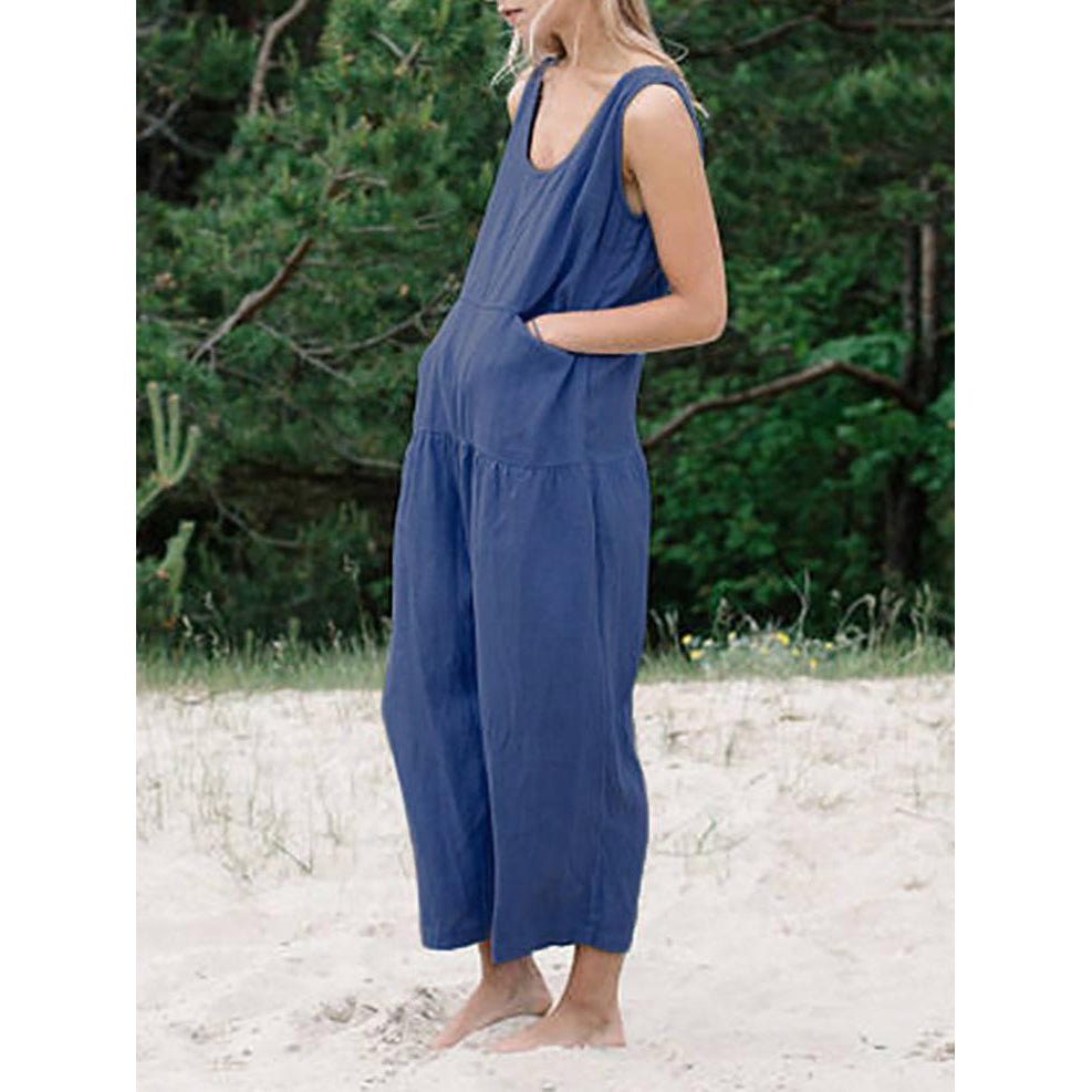 Summer Sleeveless Casual Cotton Linen Rompers Loose Wide Leg Jumpsuits