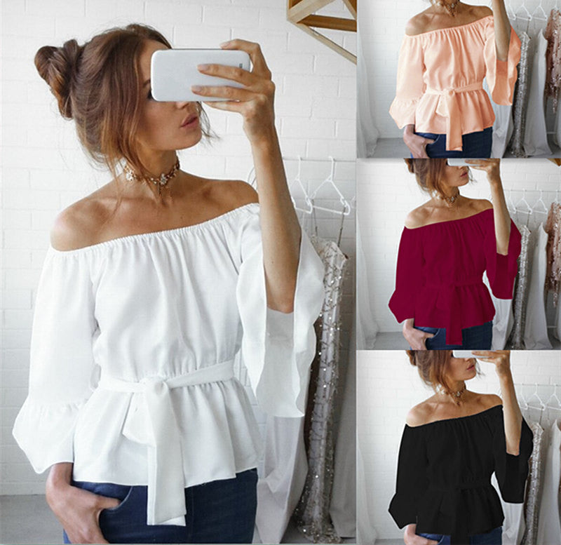 Autumn New Women Slash Neck Chiffon Blouses
