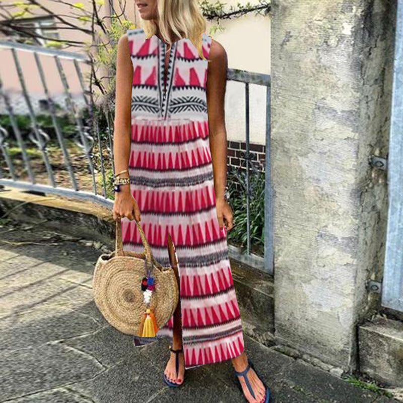 Printed Pleated Vacation Split Dresses
