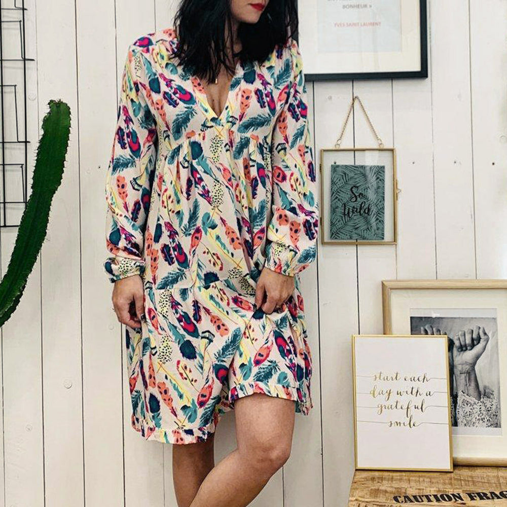 Casual Plus Size Floral Print Long Sleeve Dress