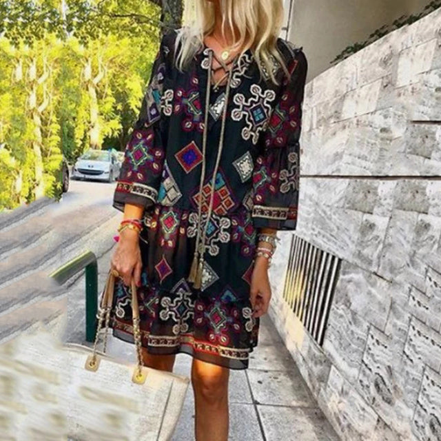 Bohemian Long Sleeve Print Mini Dresses