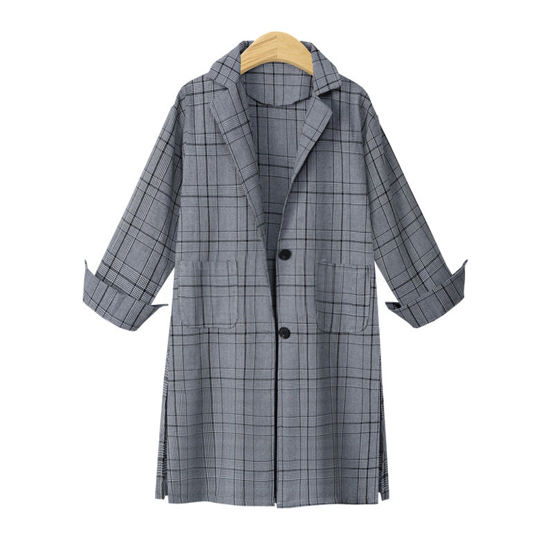 Autumn Winter Women Gird Plaid Vintage Style Elegant Single Breasted Turn Down Collar Trench Coat