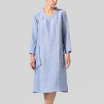V-Neck Long Sleeve Pocket Line Dress