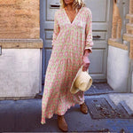 Boho Beach Dresses Long Sleeve Floral  Maxi Dress