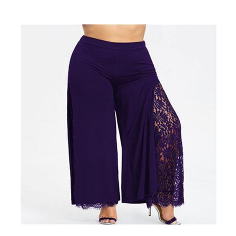 Plus Size Women Summer Wide Leg Pants Casual Loose High Slit Lace Palazzo Pants Women Straight Long Trousers