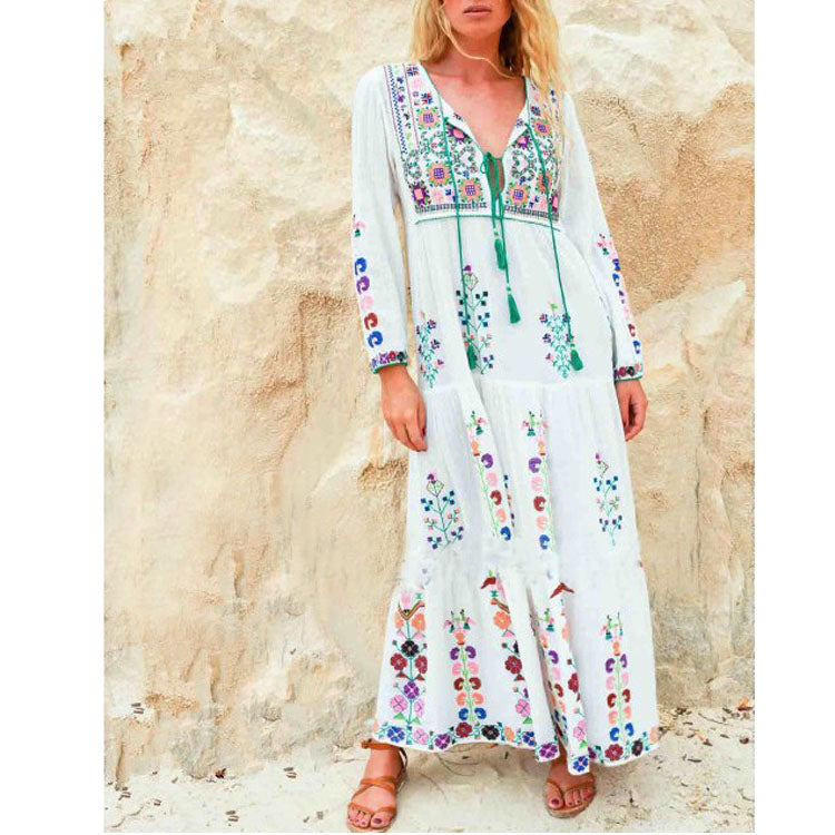 V-Neck Floral Embroidery Dresses Casual Long Sleeve Boho Dress