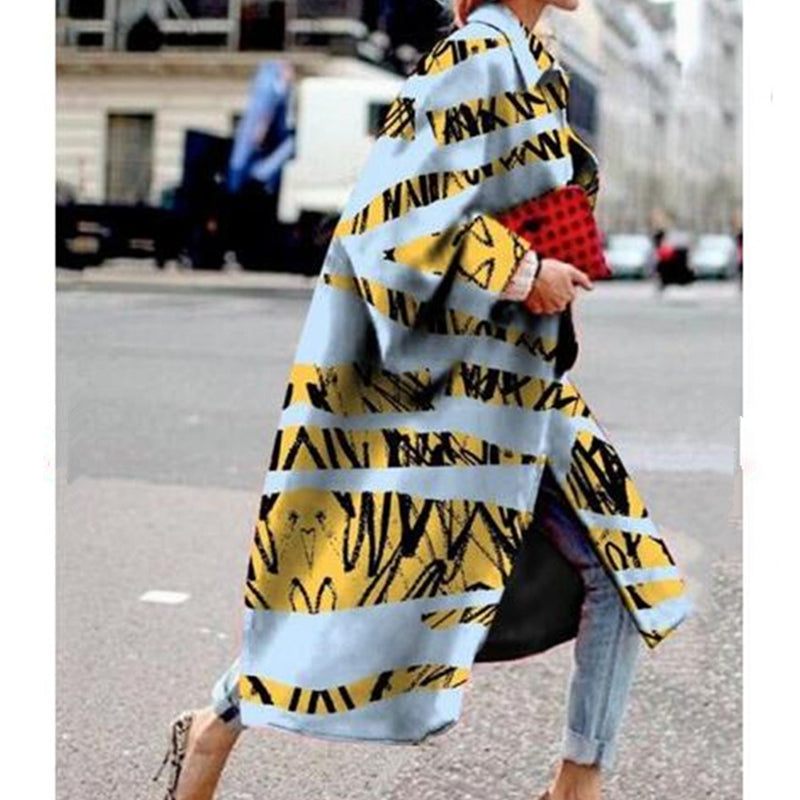 Women Fashion Loose A-Line Trench Coat Women Long Coat Outwear Casual Long Sleeve Print Coat