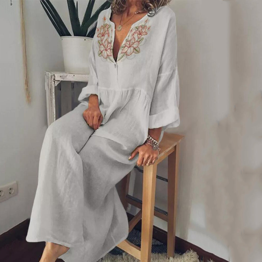 Embroidery V-Neck Line Maxi Dresses